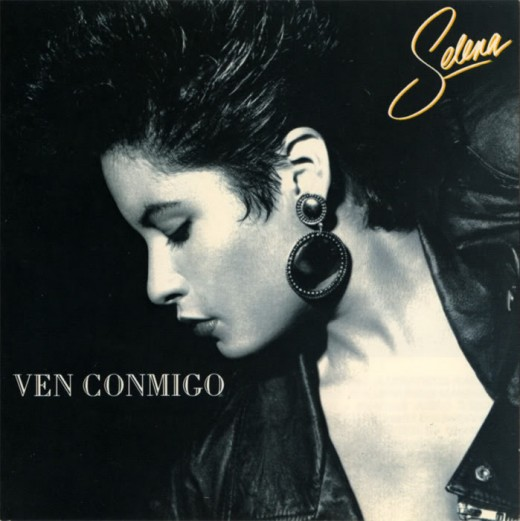 Ven Conmigo. The album cover was shot in black and white because Selena had dyed her hair jet black the night before the photo shoot and got some hair dye on her face.