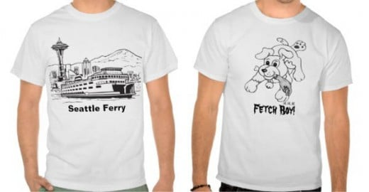 Seattle Ferry Washington State Line Art T-shirt Fetch Boy Shirt