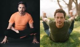 Robert Downey Jr in two yoga poses