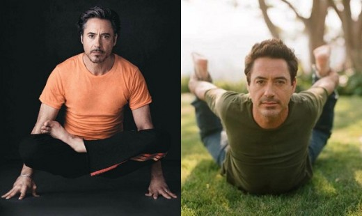 Robert Downey Jr in two yoga poses