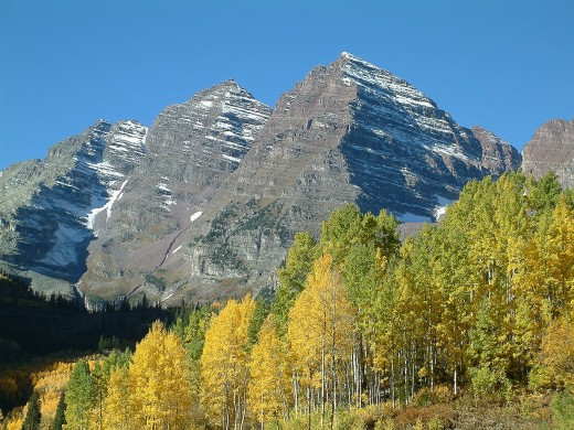 Maroon Bells in the Elk range near Aspen Colorado USA