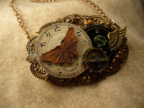 Necklace With Steampunk Style Clock Pendant
