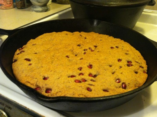 A Pomegranate Skillet Cookie makes for a tasty Samhain treat!