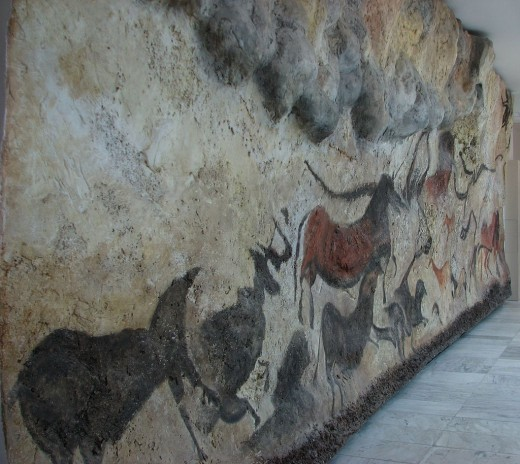 Replica of Lascaux Cave paintings in the Brno museum