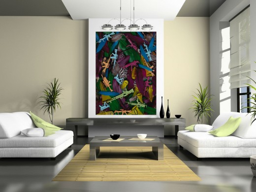 This design uses only one large piece of art to bring a new modern look to the room.