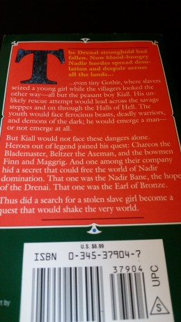 Photo of the back cover of my copy of Quest for Lost Heroes by David Gemmell.