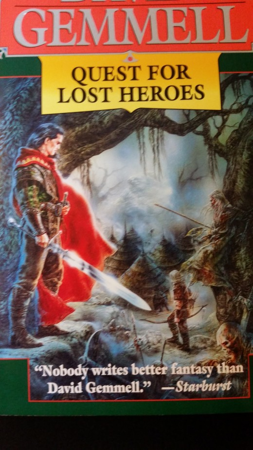 A close of the beautiful cover art for Quest for Lost Heroes by David Gemmell. Cover art by Royo.