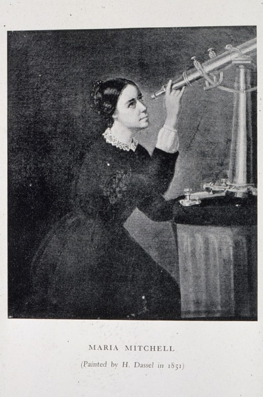 Portrait of Maria Mitchell painted by H. Dassel in 1851.