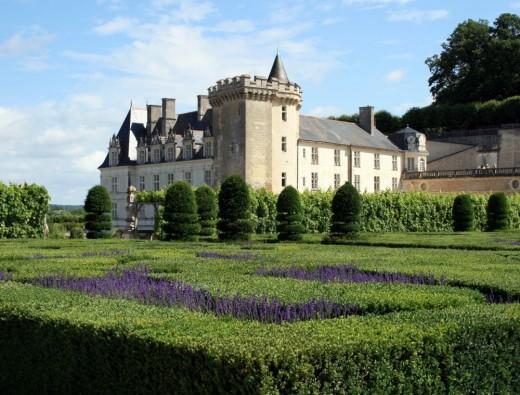The chateau of Villandry seen across the ornamental garden