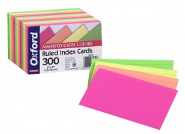 Oxford 3X5 Glow Index Cards, Ruled, Assorted Colors, 300 Count (81300)