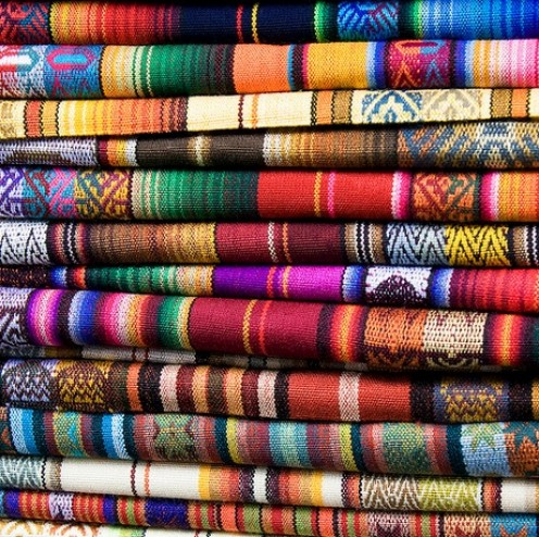 Colorful textiles ready for market