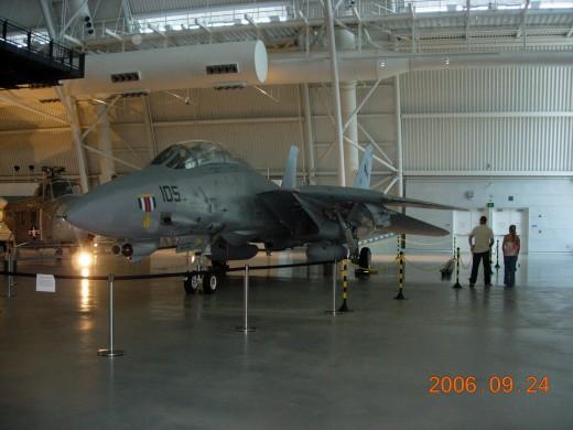 An F-14 Tomcat on display at the Udvar-Hazy Center circa 2005.