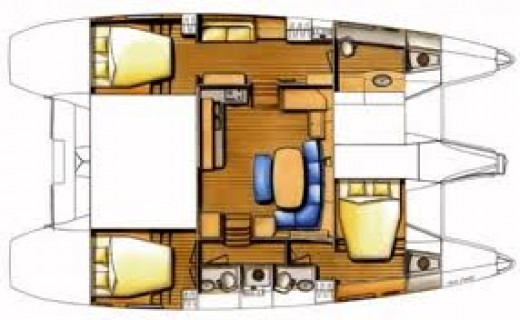 Floor plan of a catamaran