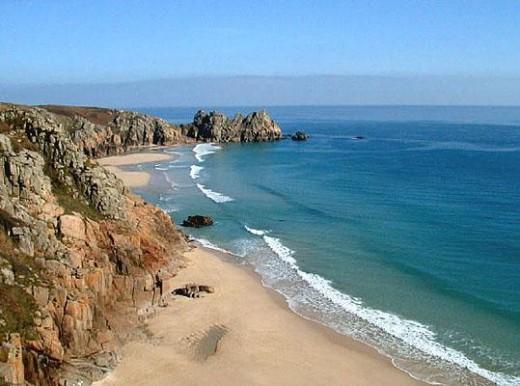 Deserted Cornish beach