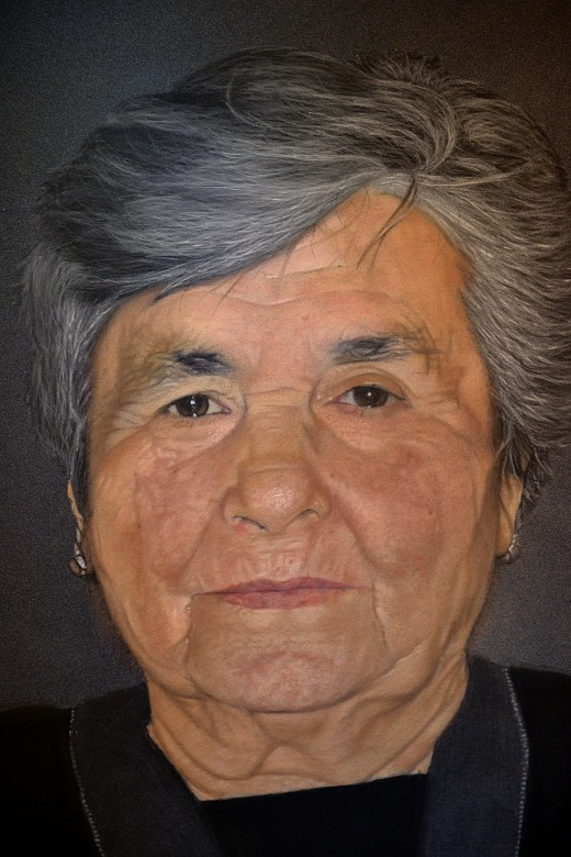 Old Lady 2014 - Pastel pencils on paper