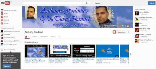 AJGodinho's YouTube One Channel Layout