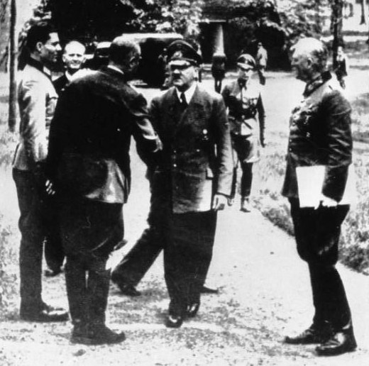 "In Rastenburg at the Fuhrer's headquarters ""Wolf's Lair. ""L-R: Claus Schenk Graf von Stauffenberg, Karl Jesko of Puttkamer, unknown, Adolf Hitler, Wilhelm Keitel on 07/15/1944"