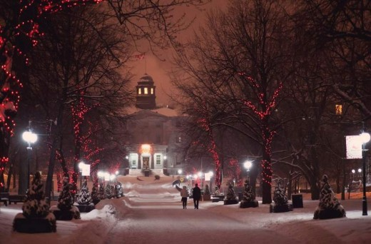 McGill University main entrance in winter.