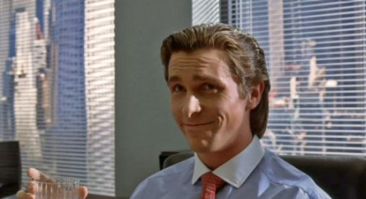 "Actor Christian Bale portrays 1980's businessman Patrick Bateman in the film, ""American Psycho"". The film is a sensationalized take on what a sociopath is capable of. In the end, Bateman fails to see any slights in his logic."