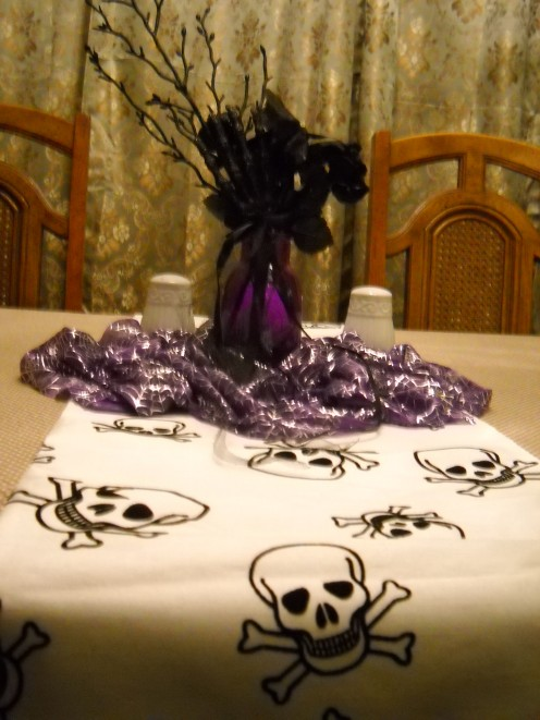 View of finished centerpiece on my dining room table, paired with skull table runner.