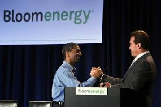 California Governor Arnold Schwarzenegger greets KR Sridhar, co-founder and CEO of Bloom Energy