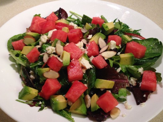 Mixed greens salad with watermelon and avocado