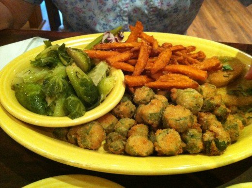 Vegetable Plate from Tupelo Honey in Ashville NC with Brussels sprouts, fried okra, fried green tomatoes, and sweet potato fries