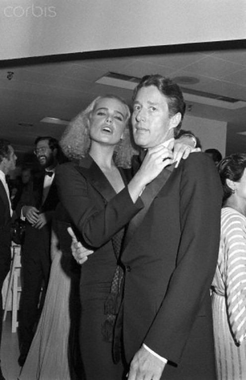Margaux Hemingway with Halston at a party at Bloomingdales