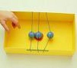 Try this one easily at home. All you need is a box, some rubber bands and some rubber balls.