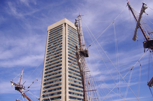 The Baltimore World Trade Center, from below.