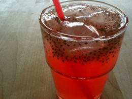 Chia seeds tea with strawberry.