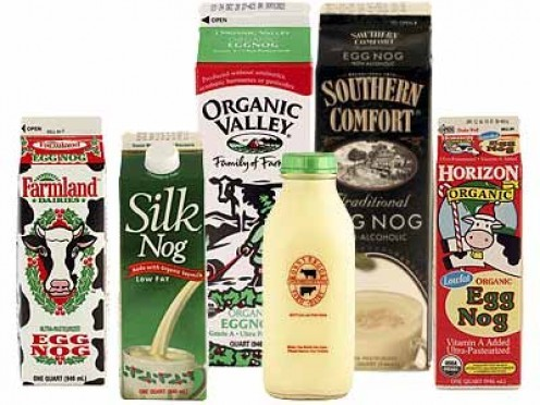 nog, other wise known as eggnog is a beverage made with beaten eggs, and usually mixed with an alcoholic liquor is very popular during Christmas time.