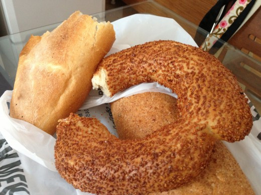 Simit, fresh from a cart on Istiklal Caddesi