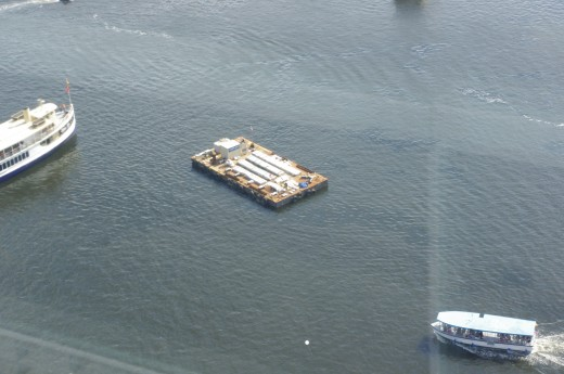 "Overhead view of the USS ""Hell Yeah! Fireworks Barge!"""