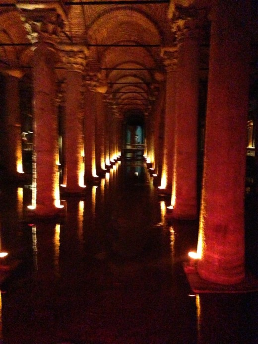 Some of the 336 columns that support the cistern with a pool of water at the bottom