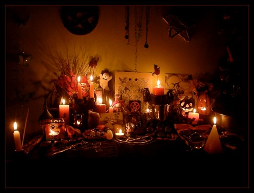 An example of a Samhain altar.