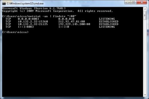 Windows Operating System Netstat Output