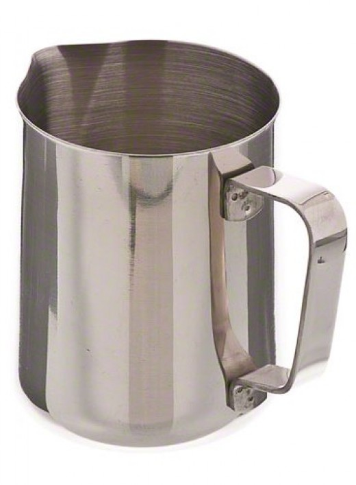 The Update International EP-12 Stainless Steel Frothing Pitcher.  A sturdy and durable coffee jug, this product is both functional as well as stylish and is a great asset for coffee drinkers.  Constructed from stainless steel, it is easy to clean.