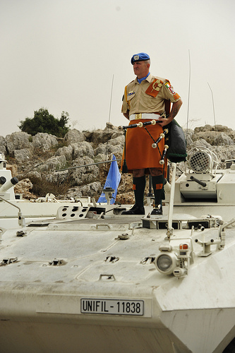 An Irish peace keeper with his pipes serving overseas in Lebanon.
