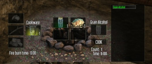 Grain Alcohol takes a long time to cook, but is needed to craft the First Aid Kit