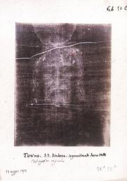 Sudario Face - Negative of photograph of the Shroud of Turin.