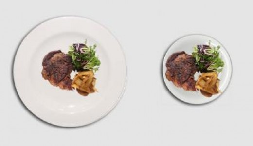 By using a smaller plate, you create the illusion of eating larger portions