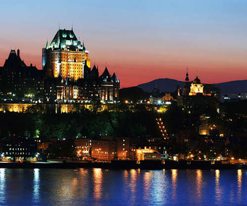 Quebec City shining at night.