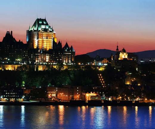 Quebec City shining at night.