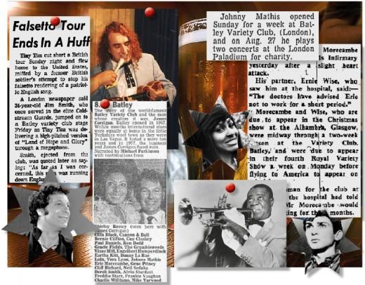 Batley Variety Club newspaper cuttings.