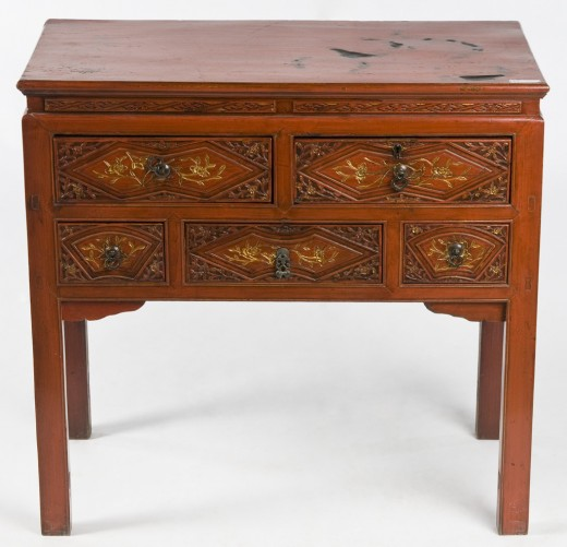 Asian Antique Table with red lacquer finish, carved details, and gold-painted highlights.