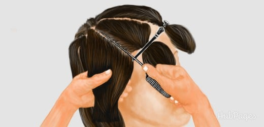DIY Dye: Using a tail comb to section streaks of hair for highlights.