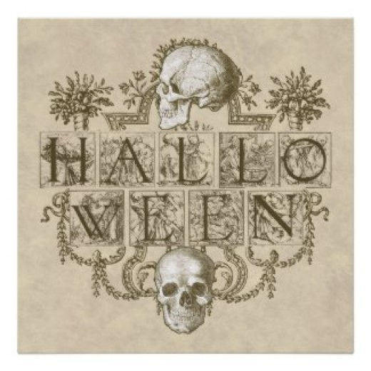 Always a popular Halloween décor choice - skeletons and skulls.  (Poster and other items available by clicking the source link)