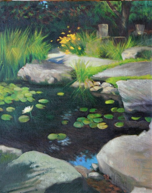 Zen Pond (Oil on Canvas)