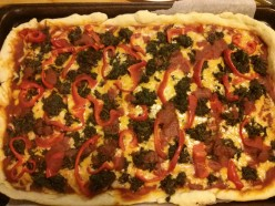 Spinach, Basil, Red Pepper Homemade Pizza